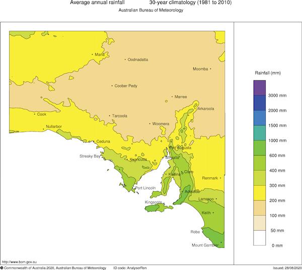 Adelaide Rainfall Map