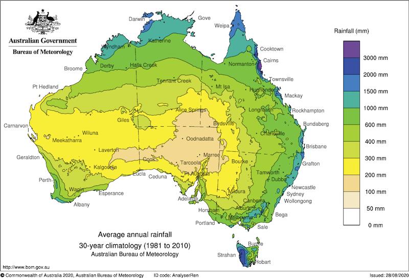 Map of Average Rainfall in Australia