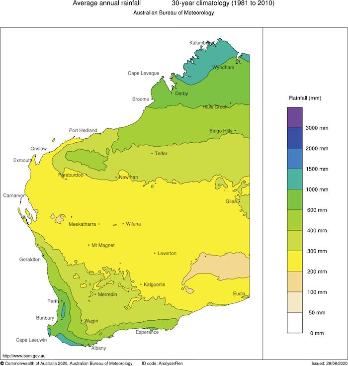 Perth Annual Rainfall Map Australia